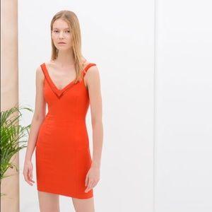 Zara Bold Orange Mini Bodycon Vneck Strap Dress